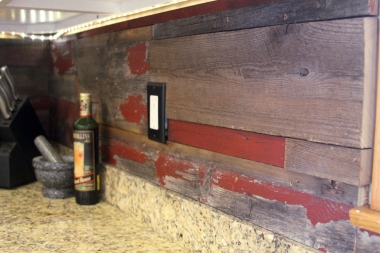 Reclaimed barn wood backsplash 2